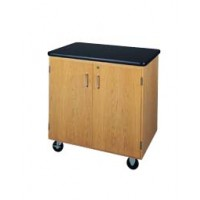 "Solid Oak Wood Mobile Storage Cabinet with Swivel Casters and Plastic Laminate Top, 500lbs Capacity, 36""W x 36""H x 24""D, 1 Full Adjustable Shelf"