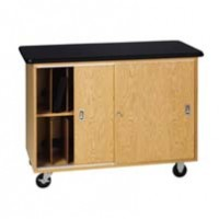 "Oak Wood Mobile Laptop Storage Cabinet with Swivel Caster Plastic Laminate Top, 48""W x 36""H x 24""D"