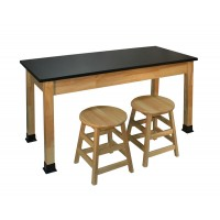 "BS-EP Series 30""x60"" Chemical Resistant Solid Epoxy Resin Science Tables (Stools shown sold separately)"