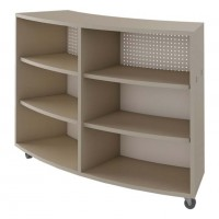 Single Face Curved Mobile Book Shelf in Flax Linen Laminate