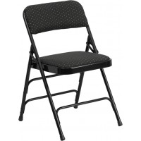 Curved Triple Braced & Quad Hinged Patterned Fabric Upholstered Metal Folding Chair - Black