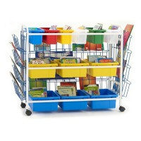 Deluxe Book Browser Cart with Book Displays, 6 Divided & 3 Open Tubs - Copernicus BB005-9-1