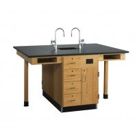 """UV Finish Solid Oak Wood 4 Station Service Center with Sink, 66""""W - 2 Top Types"""