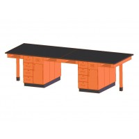 """UV Finish Solid Oak Wood 8 Station Service Center, 132""""W - 2 Top Types"""