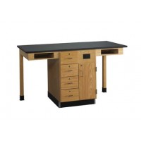 "UV Finish Solid Oak Wood 2 Station Service Center, 66""W - 2 Top Types"