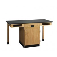 "UV Finish Solid Oak Wood 2 Station Service Center with Full Cupboard, 66""W - 2 Top Types"