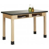 """UV Finish Table with Book Compartment and Plastic Laminate Top, 54""""W - 2 Wood Options"""