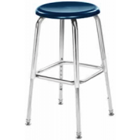 """Columbia Manufacturing 17-24"""" Adj. Height Hard Plastic Stool - Blue Seat and Chrome Frame"""