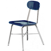 """Columbia Manufacturing 17.5"""" Seat Height X-Brace Chair - Blue Seat and Chrome Frame"""