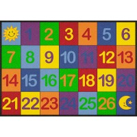 Colorful number grid rug