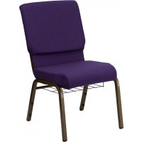 Signature Series 18.5'' Wide Fabric Church Chair with 4.25'' Thick Seat, Communion Cup Book Rack - Gold Vein Frame - 3 Seat Options