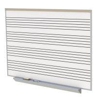 A2M Style Porcelain Magnetic Whiteboard with Music Staff with 4 Markers & Eraser by Ghent