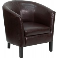 Leather Barrel Shaped Guest Chair - 2 Seat Options