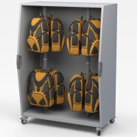 Haskell Pack Cart - Mobile Backpack Storage Cabinet with Dry Erase Back
