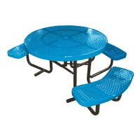 "46"" Round Perforated Metal ADA Table"