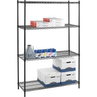 """Lorell Industrial Wire Shelving Units - 36""""W x 24""""D x 72""""H - Black"""