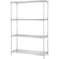 """Lorell Industrial Wire Shelving Units - 48""""W x 24""""D x 72""""H - Chrome"""