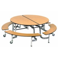 "60"" Mobile Bench Round Table by AmTab MBR604"