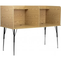 Double Wide Study Carrel with Adjustable Legs and Top Shelf - 2 Color Options