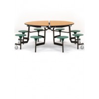 "60"" Round Cafeteria Table with 8 Stools - National Public Seating MTR60S-PBTMPC"