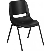 Signature Series Black Ergonomic Shell Stack Chair - Optional Tablet Arm
