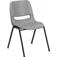 Signature Series 880 lb. Capacity Ergonomic Shell Stack Chair - Gray - Optional Tablet Arm