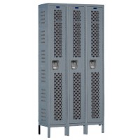 "Hallowell Heavy-Duty Ventilated (HDV) Locker, 36""W x 18""D x 78""H, 725 Hallowell Gray, Single Tier, 3-Wide"