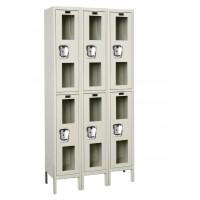"""Hallowell Safety-View Locker, 36""""W x 15""""D x 78""""H, 729 Parchment, Double Tier, 3-Wide"""