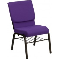 Signature Series 18.5''W Church Chair with 4.25'' Thick Seat, Book Rack - Gold Vein Frame - 10 Seat Options