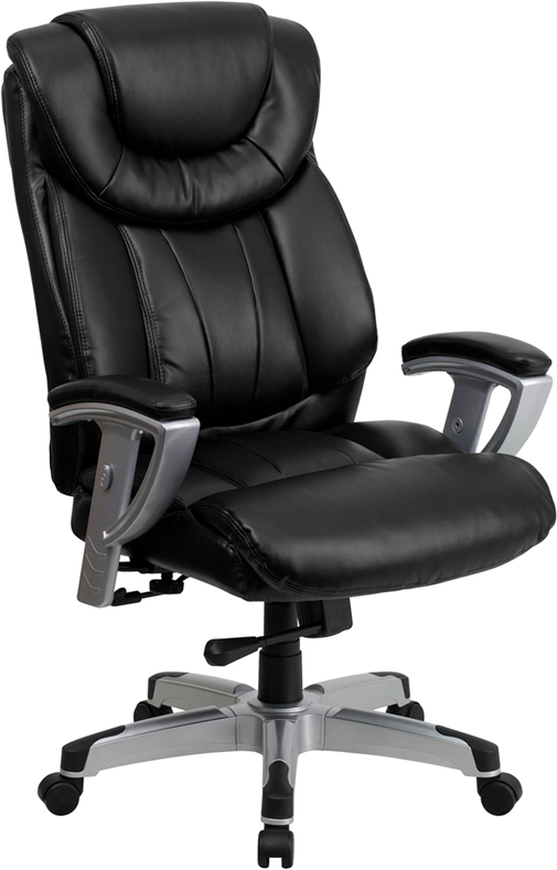 Signature Series 400 Lb Capacity Big Tall Black Leather Office Chair With Arms