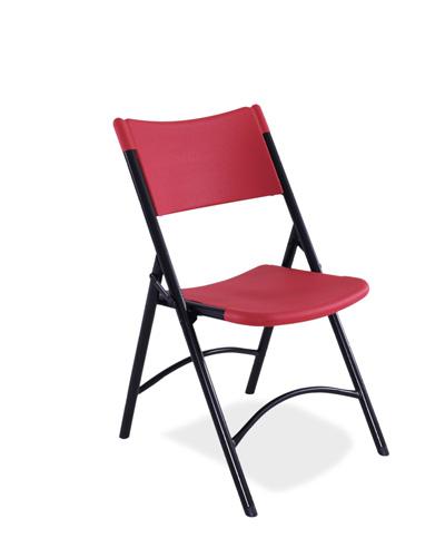 Nps Blow Molded Plastic Folding Chair Red Plastic Black Frame 640