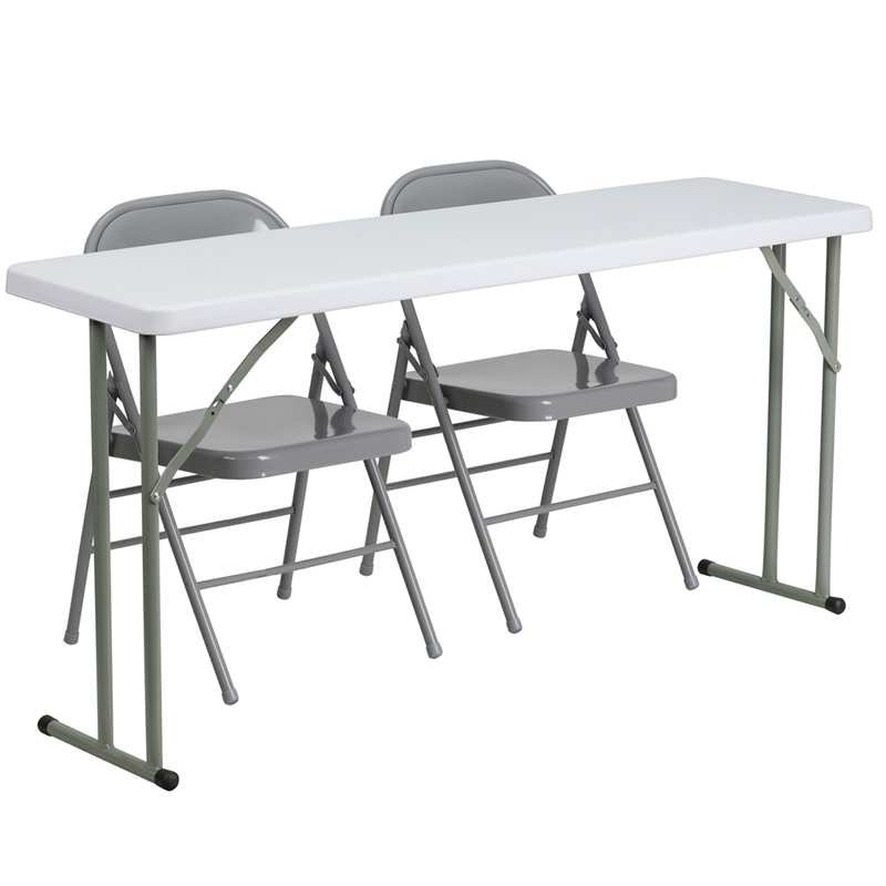 18 X 60 Plastic Folding Training Table With 2 Gray Metal Folding Chairs