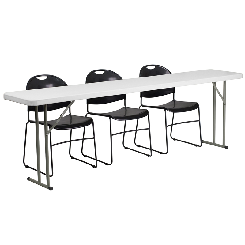 Stupendous 18 X 96 Plastic Folding Training Table With 3 Black Plastic Stack Chairs Andrewgaddart Wooden Chair Designs For Living Room Andrewgaddartcom