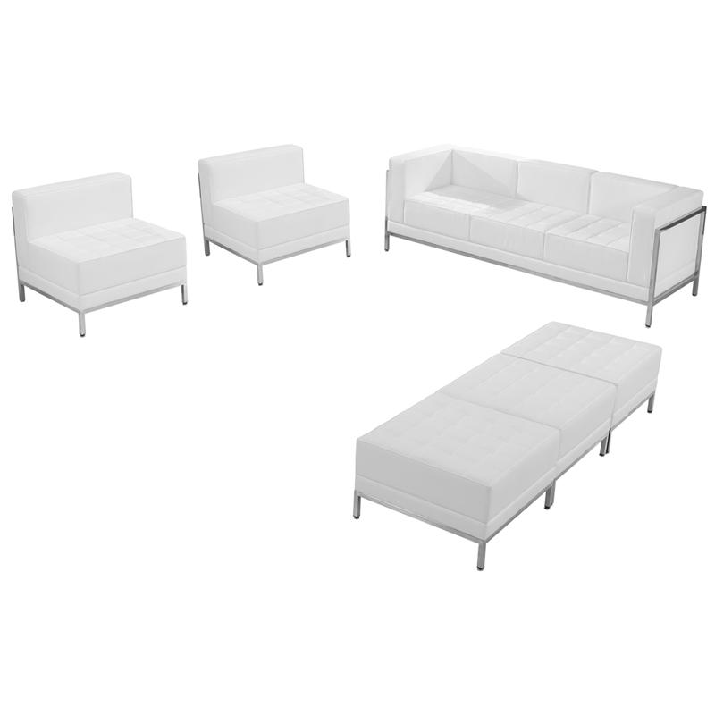 White Leather Sofa Chair Ottoman Set